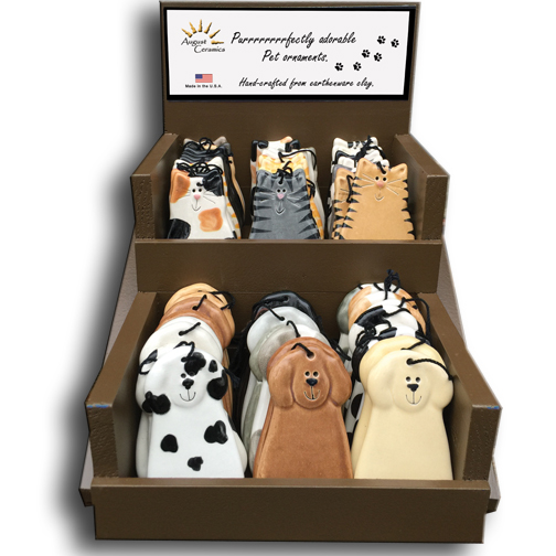 display box with 50 cat dog ornaments august ceramics